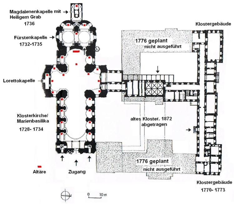Grundriss Abteikirche und Klostergebäude